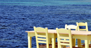 Greece, sea view with seats Stock Images