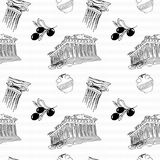 Greece seamless pattern. Sketch drawing Stock Images