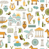 Greece seamless pattern. Vector seamless pattern with traditional Greece elements. Travel touristic background. For greeting cards, travel brochures, souvenir Royalty Free Stock Images