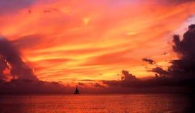 greece seglingsolnedgång Fotografering för Bildbyråer