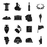 Greece set icons in black style. Big collection of Greece vector symbol stock illustration Royalty Free Stock Images