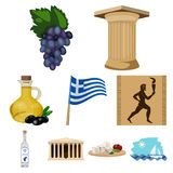 Greece set icons in cartoon style. Big collection of Greece vector symbol stock illustration Royalty Free Stock Photos