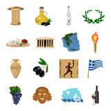 Greece set icons in cartoon style. Big collection of Greece vector symbol stock illustration Royalty Free Stock Images