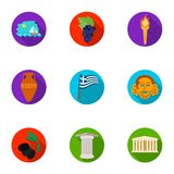 Greece set icons in flat style. Big collection of Greece symbol. Greece set icons in flat design. Big collection of Greece symbol Stock Image