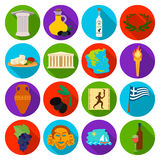 Greece set icons in flat style. Big collection of Greece vector symbol stock illustration. Greece set icons in flat design. Big collection of Greece vector Stock Photography