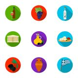 Greece set icons in flat style. Big collection of Greece vector symbol stock illustration. Greece set icons in flat design. Big collection of Greece vector Stock Images