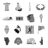 Greece set icons in monochrome style. Big collection of Greece vector symbol stock illustration Stock Image