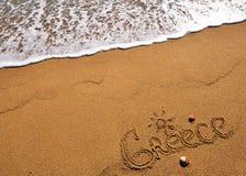 Greece sign on beach Stock Photography