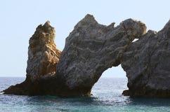 Greece, Skiathos. Greece, sea and rock hole at Lalaria beach in Skiathos stock photography