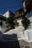 Greece, Skopelos Island, Skopelos Town. Typical Alley at Skopelos Town Stock Photos