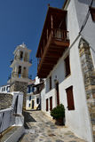 Greece, Skopelos Island, Skopelos Town. Typical White Alley at Skopelos Town Royalty Free Stock Images
