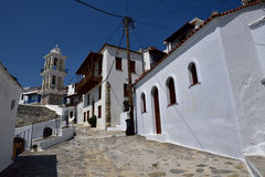 Greece, Skopelos Island, Skopelos Town. Typical White Alley at Skopelos Town Royalty Free Stock Image