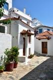 Greece, Skopelos Island, Skopelos Town. Typical White Alley at Skopelos Town Royalty Free Stock Photos