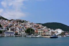 Greece, Skopelos Island, Skopelos Town. View of Skopelos Town from the Sea Stock Photo