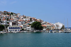 Greece, Skopelos Island, Skopelos Town. View of Skopelos Town from the Sea Royalty Free Stock Image