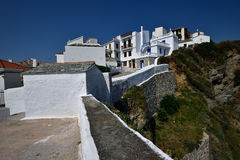 Greece, Skopelos Island, Skopelos Town. White Buildings on the Top of the Hill at Skopelos Town Royalty Free Stock Photo
