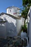 Greece, Skopelos Island, Skopelos Town. White Chapel at Skopelos Town Royalty Free Stock Photo