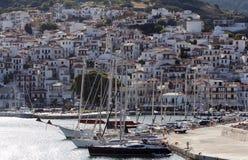 Greece Skopelos Town Sporades Islands. Boats near cost of Island of Skopelos in Greece Aegean sea Royalty Free Stock Images