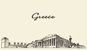Greece skyline vintage illustration drawn sketch. Royalty Free Stock Photos