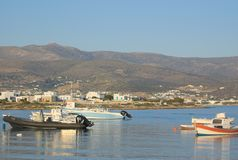 Greece the small island of AntiParos, a view to Paros. Greece the small island of AntiParos, near to the neighbouring island of Paros. The still waters of the royalty free stock photo