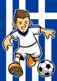 Greece soccer player with flag background Royalty Free Stock Images