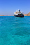 Greece. In the summer ships in the harbor in the sea near the island Royalty Free Stock Images