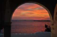 Greece sunset Stock Photo