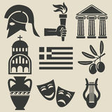Greece symbol icons set Stock Images