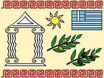 Greece symbols. A set of Greek symbols: olive, ancient temple, flag, ornament Royalty Free Stock Photo