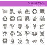 Greece Symbols. Thin Line and Pixel Perfect Icons Stock Image