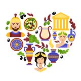 Greece symbols heart Royalty Free Stock Photo