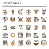 Greece Symbols. Thin Line and Pixel Perfect Icons Stock Photos