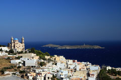 Greece, Syros island. View of Ermoupoli, capital of the Cyclades and the island of Syros in Greece Royalty Free Stock Images