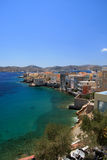Greece, Syros island. View of Ermoupoli and mansions from the island of Syros in Greece Stock Image