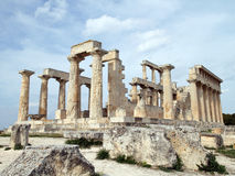 Greece Temple. An ancient greek temple and stones Stock Photo
