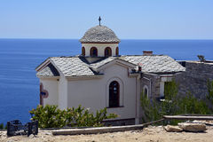 Greece, Thassos Island. Church in monastery Archangelou on Aegean sea Stock Photo