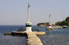 Greece, Thassos Island. Greece, entrance of the smaller harbour of Thassos town Royalty Free Stock Photography