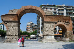 Greece, Thessaloniki, Arch of Galerius. THESSALONIKI, GREECE - AUGUST 13 2014: unknown people visiting the point of interest of Thessaloniki (Arch of Galerius) royalty free stock photo