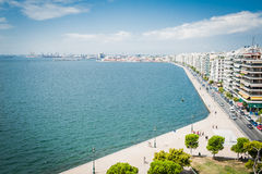 Greece, Thessaloniki, about july 2015, view on coast from The White Tower. Panorama was taken from top of the White Tower near Thessaloniki harbour Stock Photography