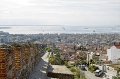 Greece Thessaloniki Old Town. General view of Thessaloniki town from Trigonon tower stock photography