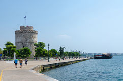 Greece, Thessaloniki, White Tower on the waterfront Royalty Free Stock Image