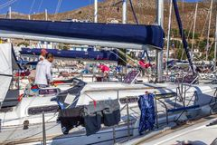 Greece, Tilos, 07.23.2015. yacht regatta in the marina, close-up. A lot of boats on the mooring stock images