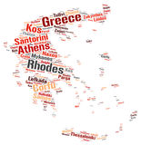 Greece top travel destinations word cloud Stock Image