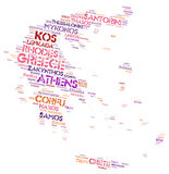 Greece top travel destinations word cloud Royalty Free Stock Image