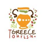 Greece tourism logo template hand drawn vector Illustration Stock Photo