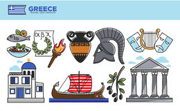 Greece travel destination promotional poster with cultural symbols. Greece travel destination promotional poster. National food, ancient relics, antique theatre Royalty Free Stock Photos