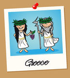 Greece travel polaroid people Royalty Free Stock Image