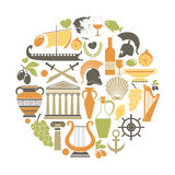 Greece travel sightseeing icons and vector landmarks poster Royalty Free Stock Photography