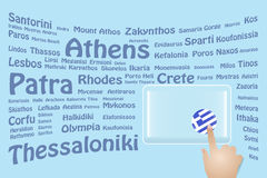 Greece Travel Touch Screen Stock Photo