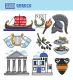 Greece travel tourism landmark symbols and Greek tourist culture attractions vector icons. Greece travel tourism landmark symbols and culture famous sightseeing Royalty Free Stock Images